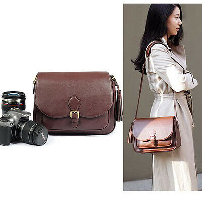 Brown PU Leather DSLR SLR Camera Shoulder Bag Case Insert For Canon Nikon Sony