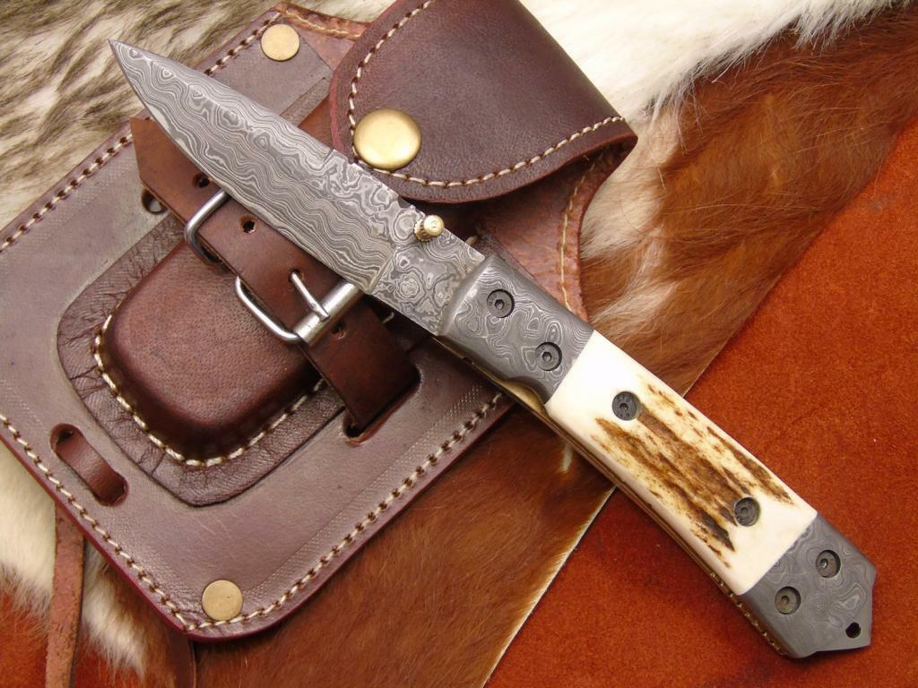 Damascos navaja Damascus Folding Knife Hirsch Horn (4223)