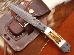 Damast-Taschenmesser-Damascus-Folding-Knife-Hirsch-Horn-4223-1