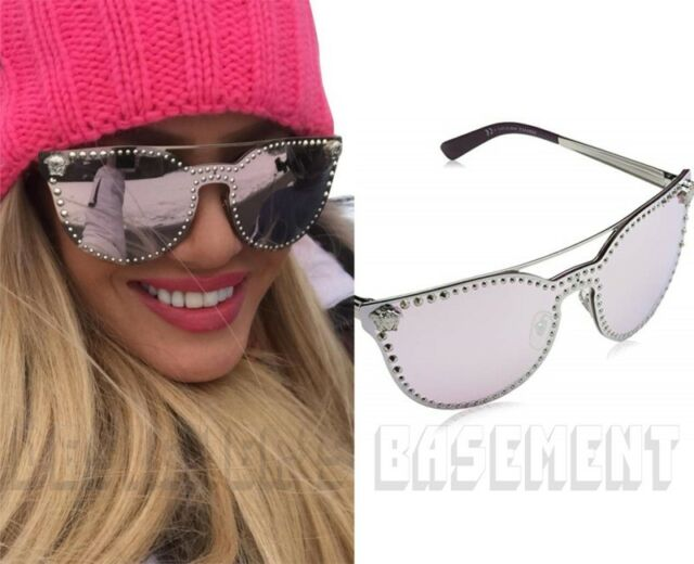 26f24303e5 VERSACE pink   silver VE2177 1000 7V studded MEDUSA logo Sunglasses NEW  Authentc