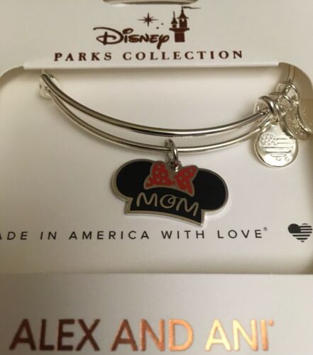 Disney Alex and Ani Minnie Mouse MOM Ear Hat Mother/'s Day Silver Bracelet NEW