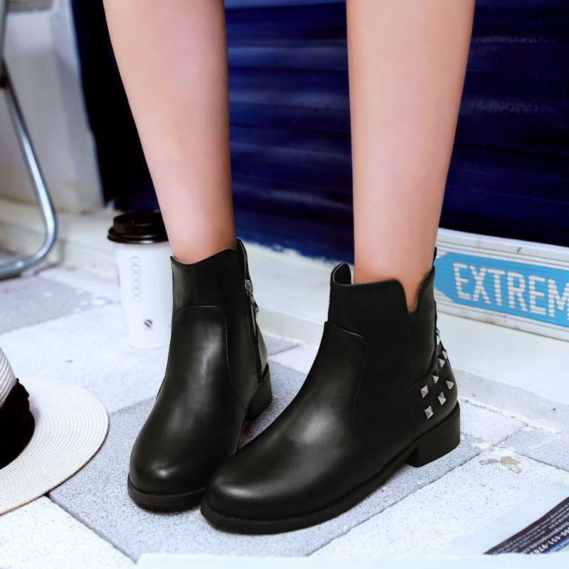 Punk Womens Rivet Ankle Boot Riding Side Zip Faux Leather Low Heels shoes New