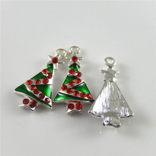 10 pcs Colorful Enamel Plated Christmas Tree Charm Necklace Pendant 27x15mm