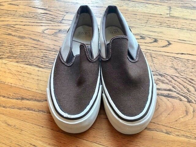 Vintage NIB Two Tone Brown Slip On Canvas Vans shoes Sz 6.5 USA Made AUTHENTIC