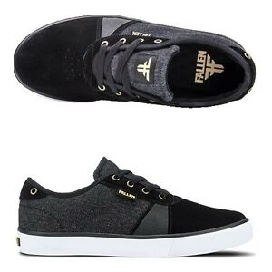 Fallen-Shoes-Strike-Black-Denim-Gold-USA-SIZE-Skateboard-Sneakers