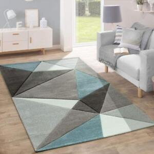 Details about Madern Geometric Rug Grey Blue Cream Bedroom Carpet Small X  Large Lounge Hallway