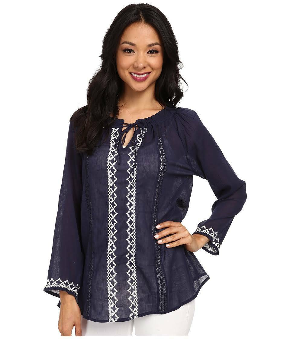 NWT SOFT JOIE PEACOAT PORCELAIN NAVY Blau GAUZE PEASANT TOP BLOUSE MEDIUM M 198
