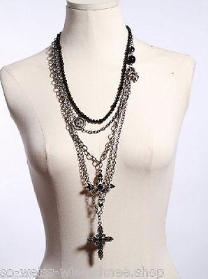 RQ-BL Halskette Kreuz Necklace Black Cross Kette Gothic Steampunk 1020