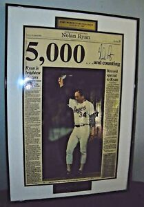 Rare-Nolan-Ryan-Autographed-5000-Strikeout-Framed-Newspaper-1-of-5000