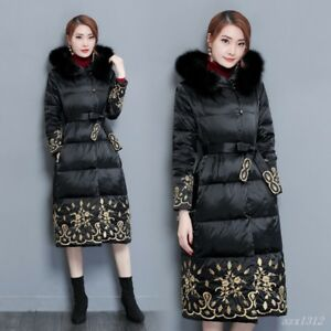 daa8ac05c958 Chic Women Floral Chinese Style Long Cotton Coat Jacket Hooded Belt ...