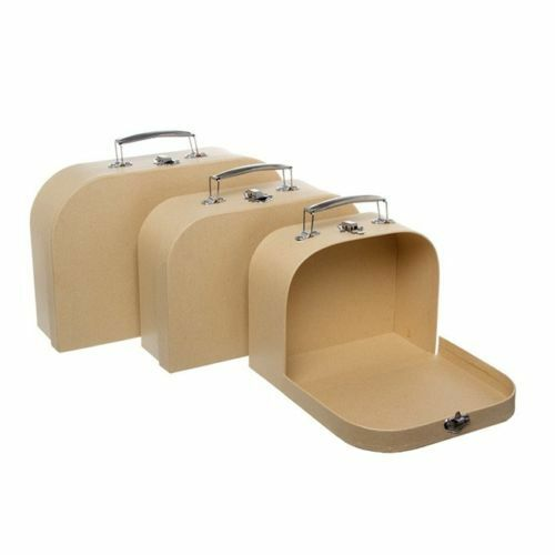 Suitcase Gift Box With Metal Handles Set of Three Gift Box White or Brown