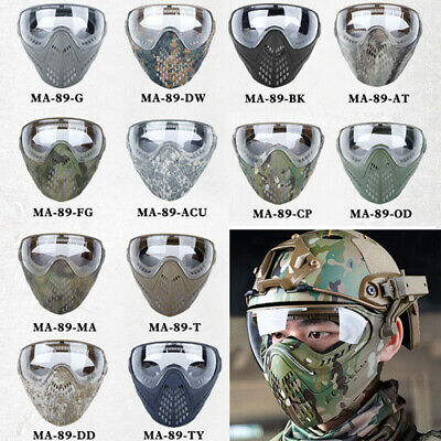 Details about  /Paintball Hunting Head-mounted //Helmet Type Tactical Full Face Mask Lens Airsoft