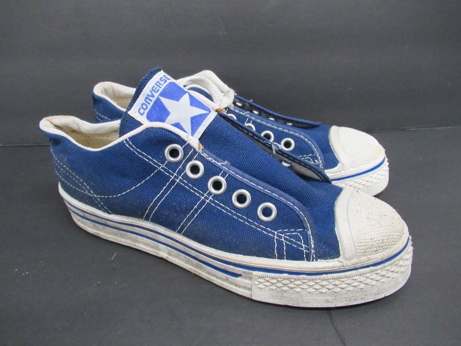 Vintage Retro Converse in Blue Canvas Shoes 60s/70s Kids' Size: 13.5