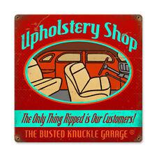 Busted Knuckle Garage Upholstery Shop Sattlerei Retro Sign Blechschild Schild