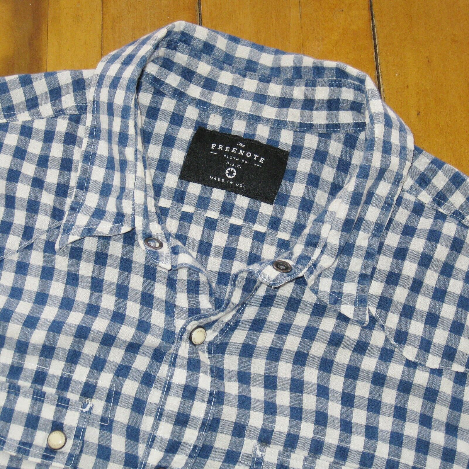 FREENOTE bluee White Gingham Snap Button Western Light Weight Shirt S Made In USA