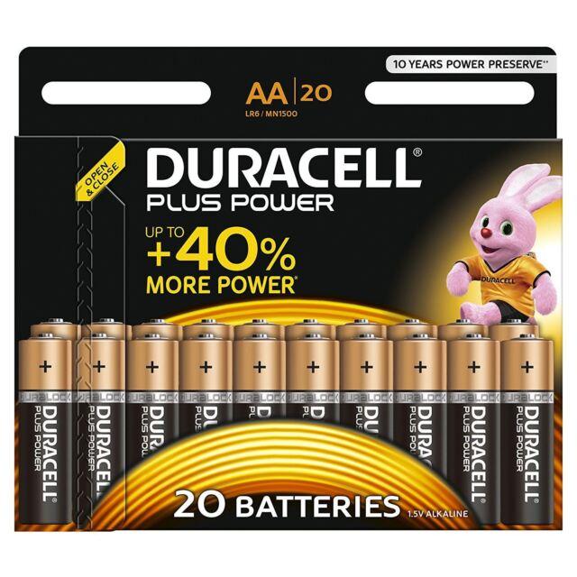 20x Duracell Aa Plus Powre Duralock Piles Alcalines Cellule LR6 Non-Rechargeable
