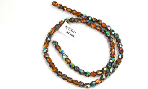 "Czech Fire Polished Round Faceted Glass Beads in Topaz Vitrail coated 16/"" brown"