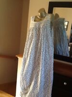 Adonna Woman 100% Cotton Long Floral Nightgown Gown Embroidery Lace Small