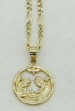 """10K Yellow and White Gold Baptism Figaro Chain and Charm Combination 16"""" Long"""