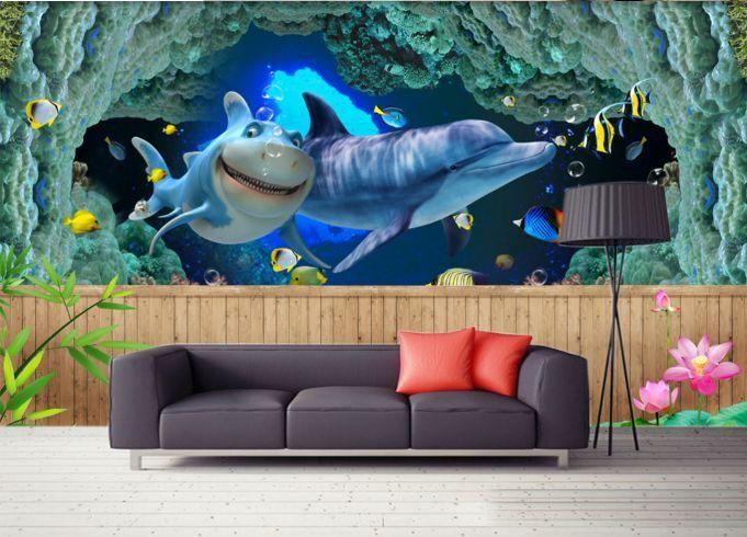 3D delfini 256 Parete Murale Foto Carta da parati immagine sfondo muro stampa