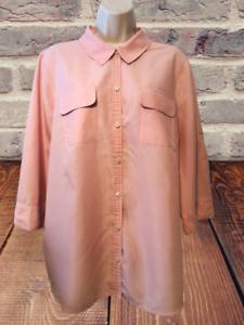 Croft & Barrow Women's Blouse Plus Size 1X 3/4 Sleeve Button Down Shirt