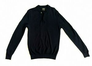 Zara-Man-Mens-Jumper-Long-Sleeve-Top-100-Extrafine-Wool-Size-M-40-Pullover-Navy