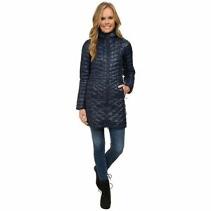 The North Face Womens Urban Navy Thermoball Hooded Quilted Coat Sz M $249 *STAIN