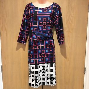 M-amp-Co-Boutique-Ladies-Dress-Size-16-Purple-Pink-White-Squares-Print-3-4-Sleeved