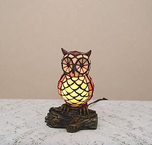 105h stained glass tiffany style owl night light table desk lamp image is loading 10 5 034 h stained glass tiffany style aloadofball Gallery