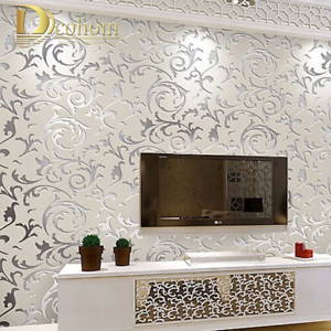 3d Victorian Damask Embossed Wallpaper Roll Home Decor Living Room