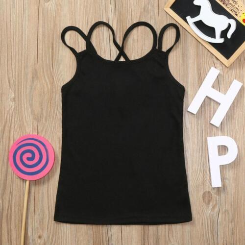 Summer Children Kids Girls Sleeveless Backless Vest T shirt Tops Clothes