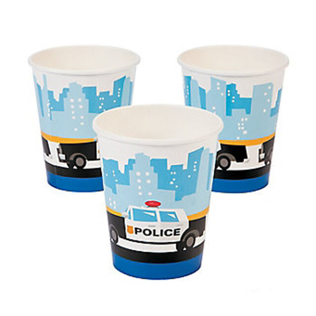POLICE PARTY Squad Car Paper Cups Disposable Cop Cars Drinking Cup Pack of 8