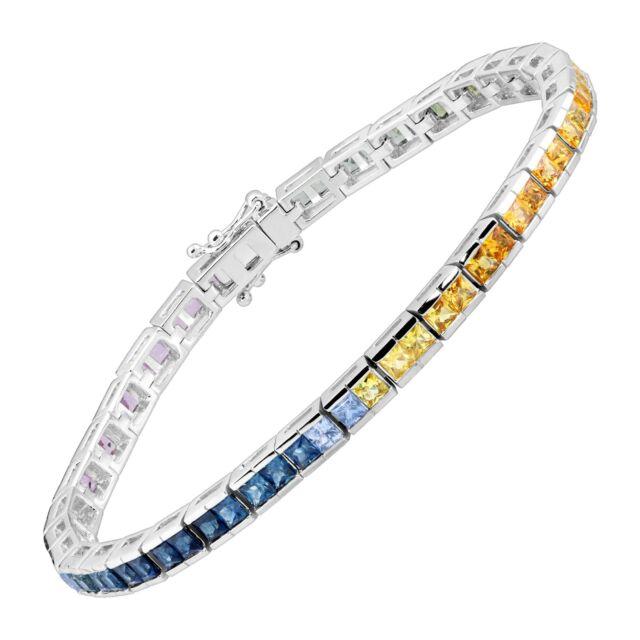 7 1/6 ct Rainbow Natural Sapphire Princess-Cut Tennis Bracelet in 14K White Gold