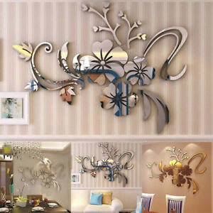 Details About 3d Mirror Floral Art Removable Wall Sticker Diy Flower Mural Home Room Decor Us
