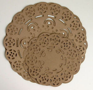 CRAFT-BROWN-Paper-Lace-DOILY-3-x-115-mm-amp-3-x-176mm-across-6-per-pk-Petaloo-H