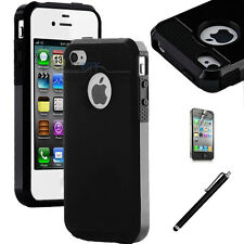 Pen+Black Rugged Rubber Matte Hard Case Cover For iPhone 4G 4S w/ Screen Protect