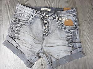 19e1464c30c531 Das Bild wird geladen Lexxury-graue-Jeans-Shorts-kurze-Hose-Baggy-Style-