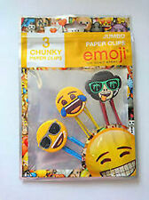 EMOJI® - 3 Novelty Chunky Jumbo Giant Paper Clips Icons Smiley Face