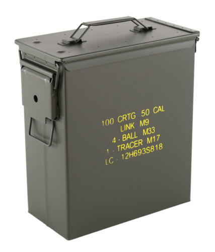 US Munitionskiste Cal. 50mm large Metall Transportkiste Ammo Box mit Aufdruck