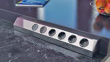 Ecksteckdose 4-fach Bachmann 923.008 Steckdose Edelstahloptik Wippschalter+USB