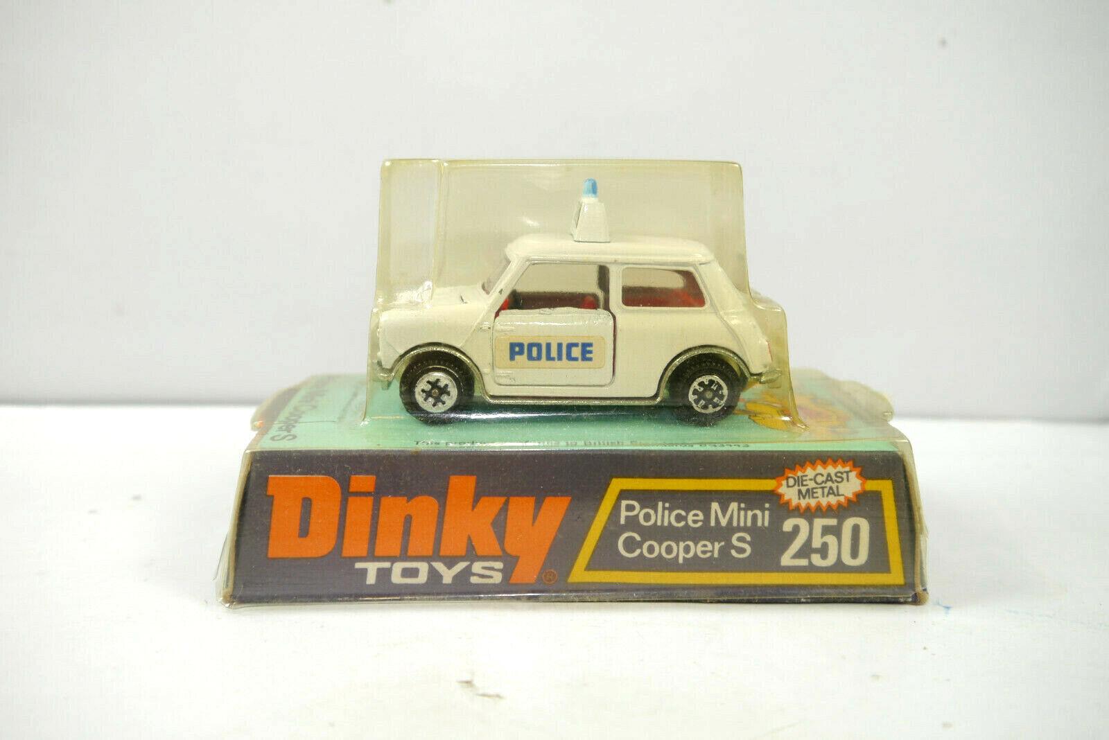 Dinky Toys 250 Police policía mini cooper s blanco metal maqueta de coche 7cm (k31)
