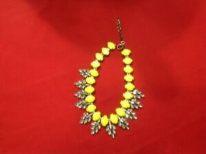 Rhinestone-Brushed-Brass-Tone-Statement-Necklace-With-Faux-Yellow-Facet-Stones