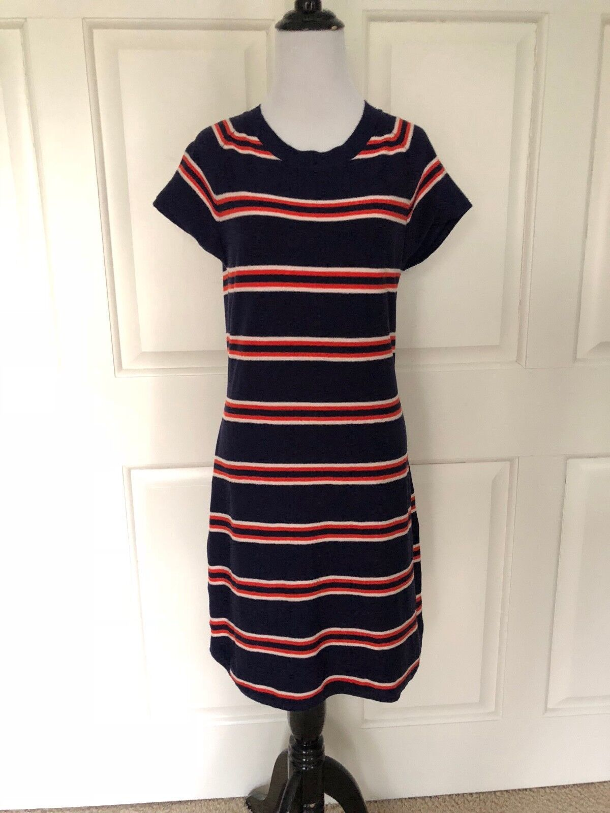 SILK KNIT SUMMER DRESS FROM CREMIEUX - NAVY, Weiß & Orange - MEDIUM - EUC
