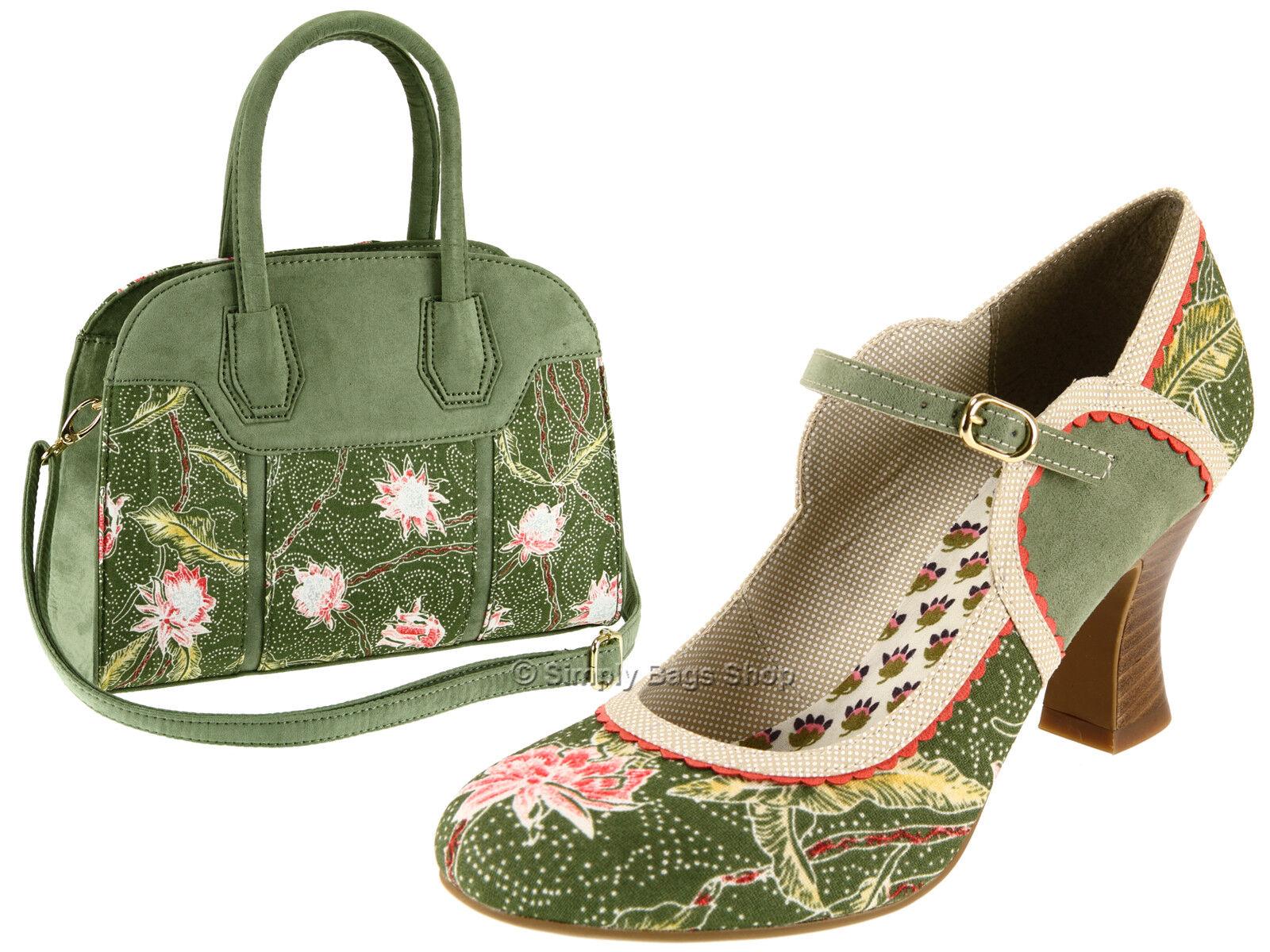 Ruby Shoo Rosalind Donna Louis tacco scarpe Mary Janes-Aggiungi borsa abbinata Cancun