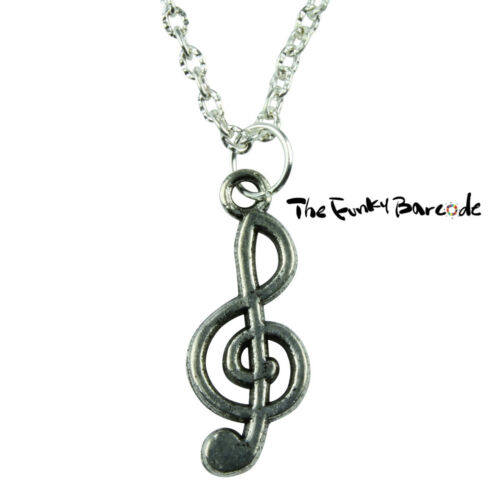 TFB TREBLE CLEF NECKLACE Quirky Kitsch Vintage Fun Music Novelty Funky Retro
