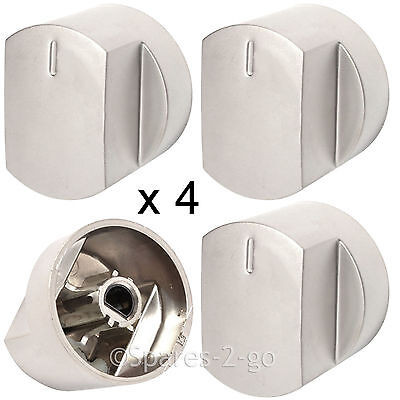 4 x Silver Knob Switch for STOVES Oven Cooker Hob 444445131 444445132 444445133