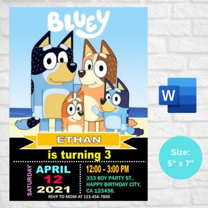 Personalized Bluey Birthday Party Invitation card Digital Invite Printable