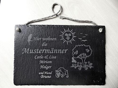 Schiefertafel 30 x 20 cm Namensschild mit Lasergravur Türschild