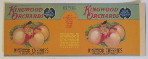 KINGWOOD ORCHARDS Royal Ann Cherries Old Can Label Salem OR. Schmidt Litho Co.