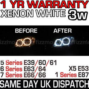BMW-E39-E87-E60-E63-E64-E65-E66-E53-OEM-ANGEL-HALO-EYES-LED-LIGHT-3W-WHITE-BULBS
